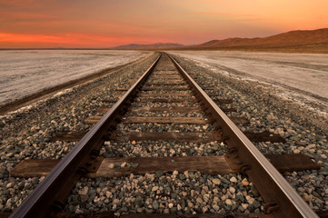 USA, California, Railroad Tracks Through Koehn Dry Lake on Mojave Desert