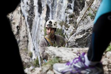 Italy, Two men climbing