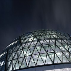 United Kingdom, England, London, Bermondsey, Partial view of illuminated City Hall building