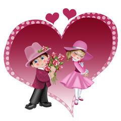 влюбленная парочка с сердцем