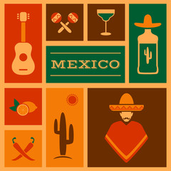 mexico background, vector mexican icons,