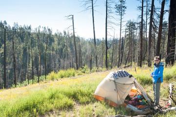 USA, Arizona, Grand Canyon National Park, Hiker camping on Arizona trail