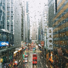 China, Hong Kong, Raindrops on window