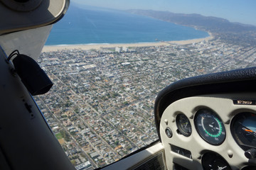 USA, California, Los Angeles County, Flying over Venice Beach and Santa Monica