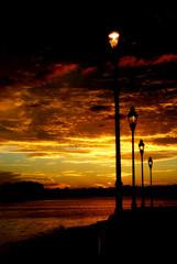 USA, Florida, Orange County, Orlando, Sunset along walk way