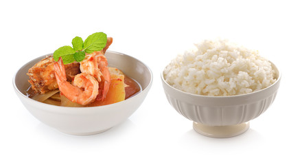 Thai Food.(Spicy and Sour Soup with Shrimp and bowl full of rice
