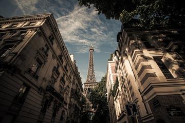 France, Paris, Eiffel Tower seen from street