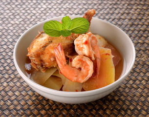 vegetable soup with shrimp.Thai food