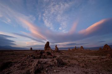 USA, California, Windy day at Trona Pinnacles