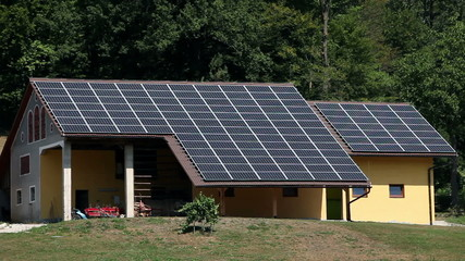 Close up of solar panel houses on a farm