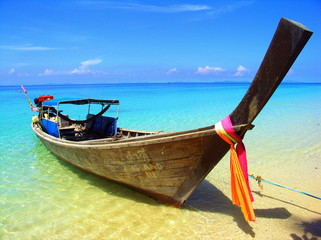 Thailand, Idyllic view of boat on water
