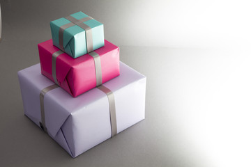 Three wrapped gifts