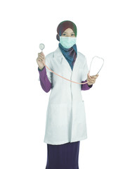Malaysia, Kuantan, Girl (16-17) as doctor with stethoscope