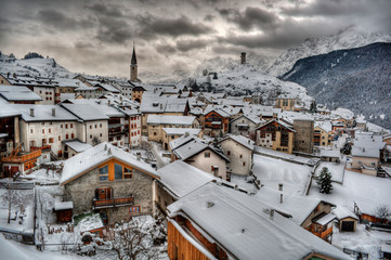 Switzerland, Village of Ardez in winter