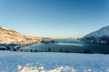 Norway, Finnmark , Altafjord , Kvenvik, Scenic landscape in winter
