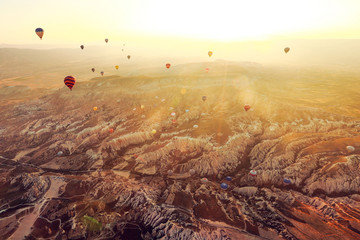 Turkey, Cappadocia, Sunrise sky with hot air balloons