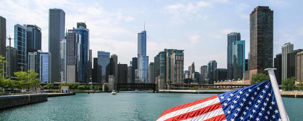 USA, Illinois, Chicago skyline from lake Michigan