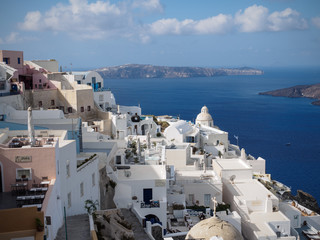 Greece, Santorini, Elevated view of townscape by sea