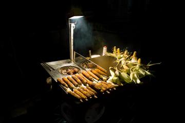 Turkey, Istanbul, Corn stand in light