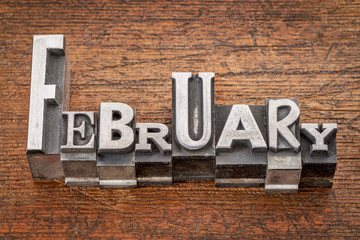 February word in metal type