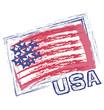 USA grunge flag vector icon logo