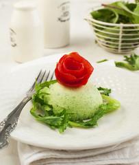 Flan-zucchini cake on plate