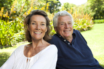 Senior couple relaxing in the garden