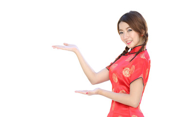 Chinese girl with traditional cheongsam suit