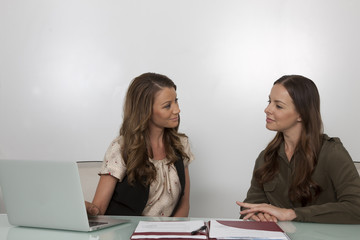 Two businesswomen at meeting