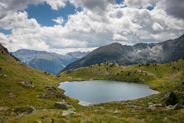 Andorra, Arcalis, Tristaina, Landscape with lake in mountains