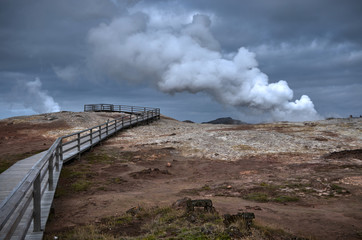 Iceland, Hot spring with steam