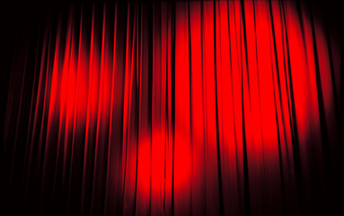 Red cinema curtain with spotlights