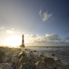 UK, England, East Sussex, View of Beachy Head lighthouse