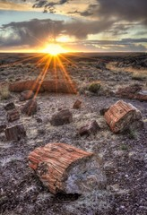 USA, Arizona, Petrified Forest National Park, Sunset in Petrified Forest