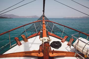 Greece, Santorini, View of boat's bow