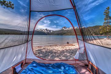 USA, Idaho, Custer County, Custer, Redfish Lake Road, Redfish Lake, Camping in Mountains