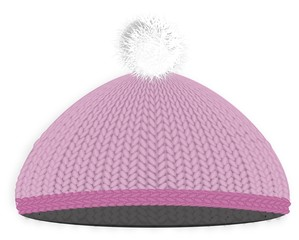 Knitted red cap with pompon