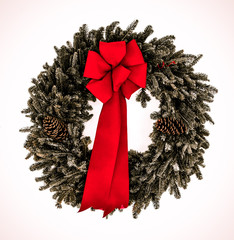 Evergreen wreath with red bow
