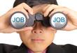 Businessman find JOB through binoculars
