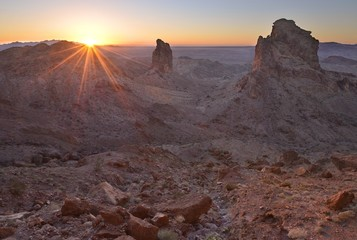 USA, California, Picacho Peak Wilderness, Sentinels of Picacho Sunset