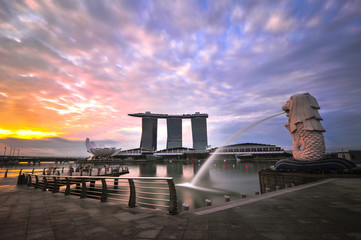 Singapore, Merlion, View of Merlion Statue