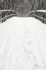 Snowy bridge at winter