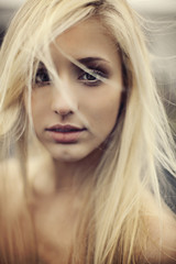 Beautiful blonde with wild hair