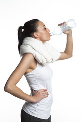 Young woman drinking water