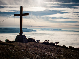 Cross at top of mountain