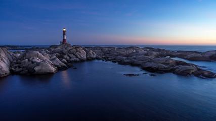 Norway, Rogaland, Eigeroy lighthouse at twilight