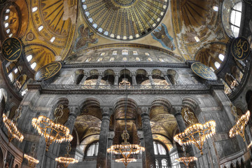 Turkey, Istanbul, Hagia Sophia, Interior of mosque