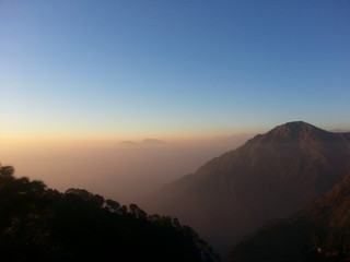 India, Katra, Jammu, Mountains at sunset