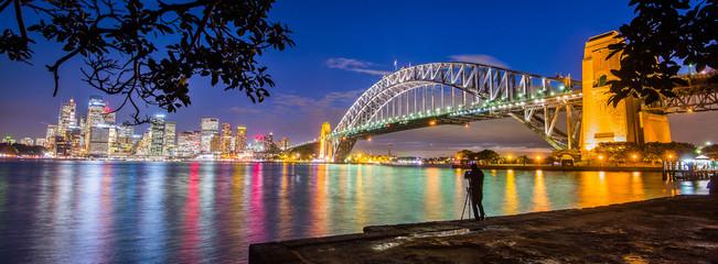 Australia, New South Wales, Sydney, Illuminated cityscape at twilight