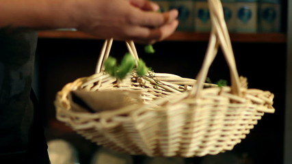 Close up of a basket with hops in it